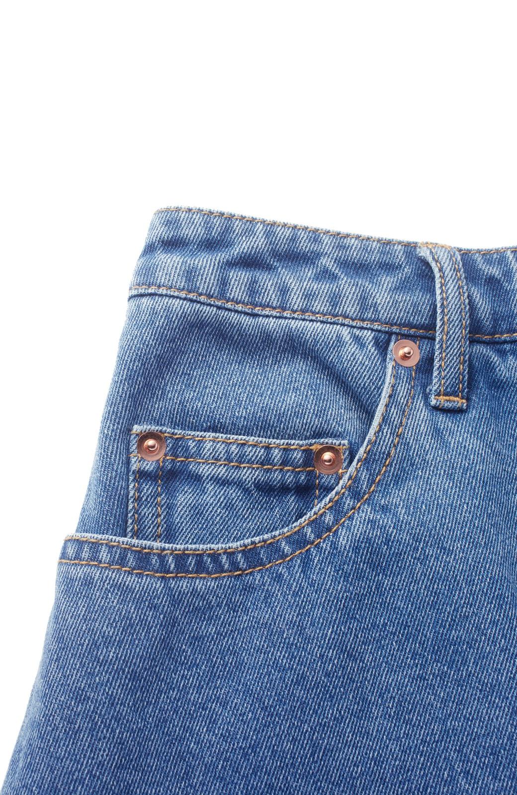 nusy 裾配色のミモレ丈デニムスカート <ライトインディゴブルー>の商品写真3