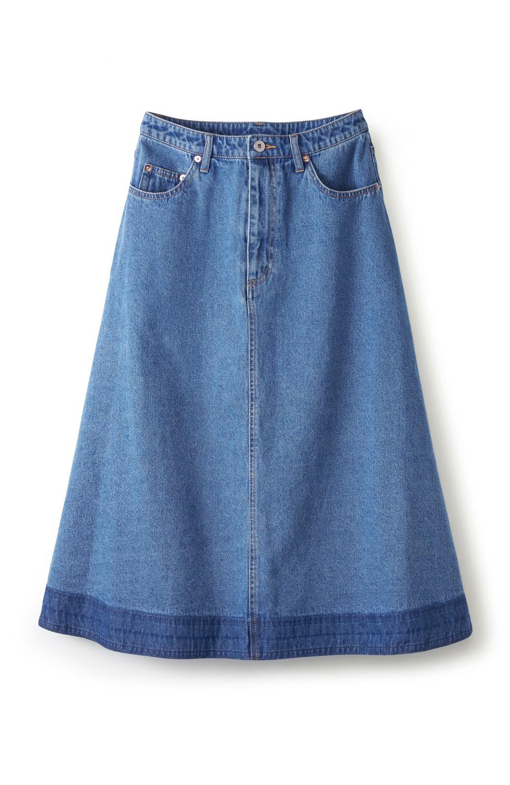 nusy 裾配色のミモレ丈デニムスカート <ライトインディゴブルー>の商品写真1