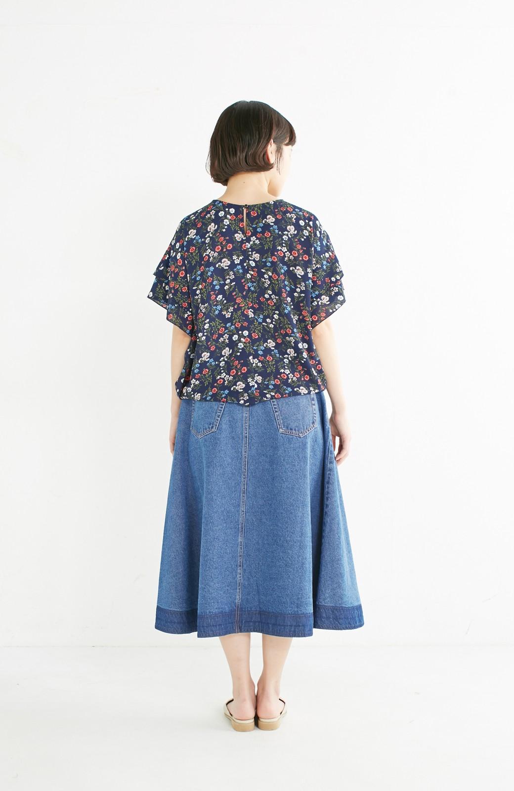 nusy 裾配色のミモレ丈デニムスカート <ライトインディゴブルー>の商品写真8
