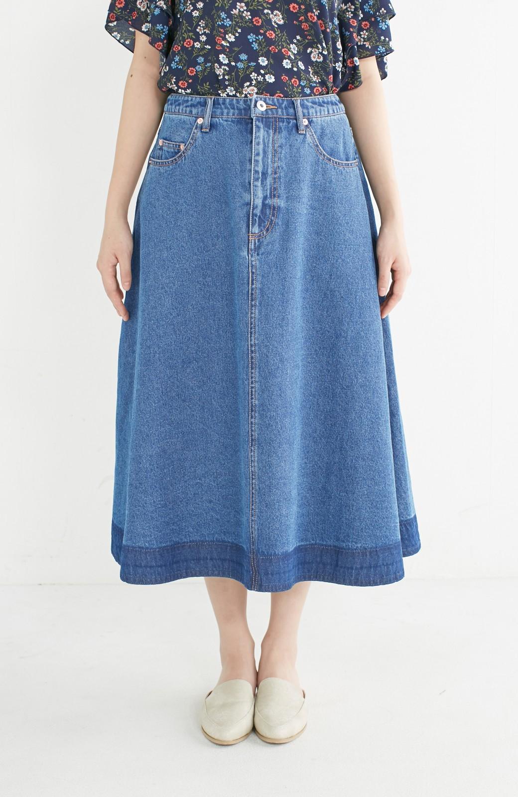 nusy 裾配色のミモレ丈デニムスカート <ライトインディゴブルー>の商品写真9