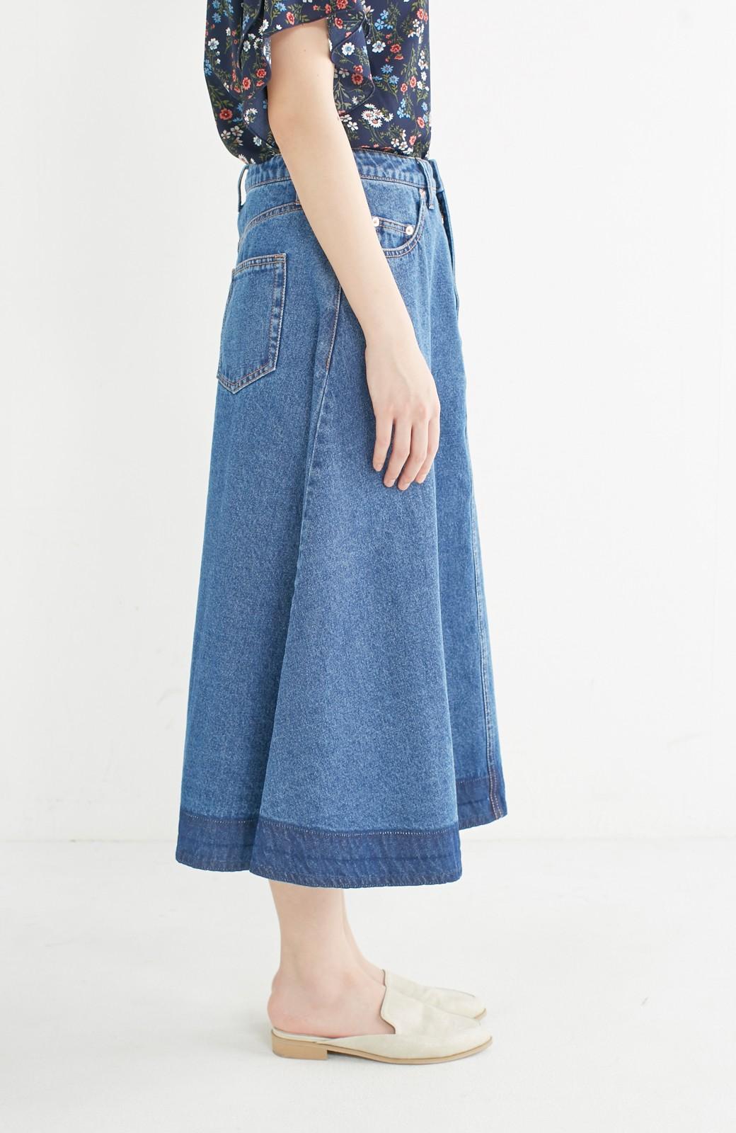 nusy 裾配色のミモレ丈デニムスカート <ライトインディゴブルー>の商品写真10