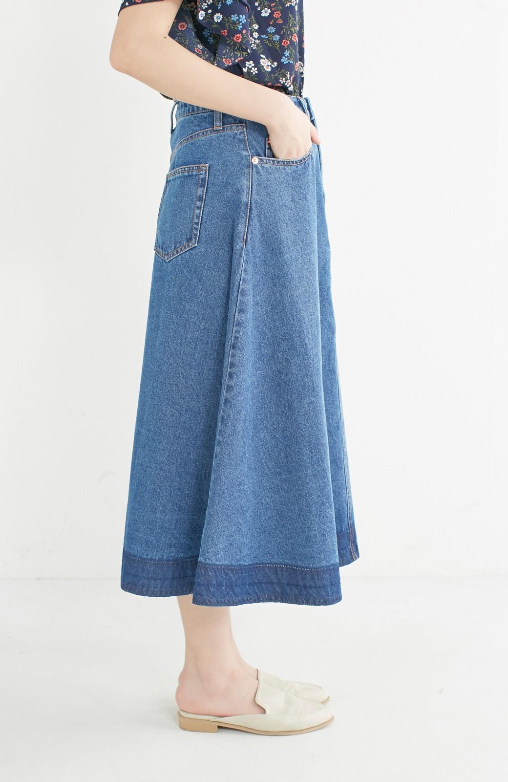 nusy 裾配色のミモレ丈デニムスカート <ライトインディゴブルー>の商品写真11