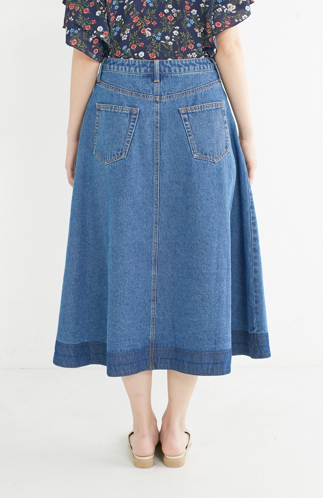 nusy 裾配色のミモレ丈デニムスカート <ライトインディゴブルー>の商品写真12