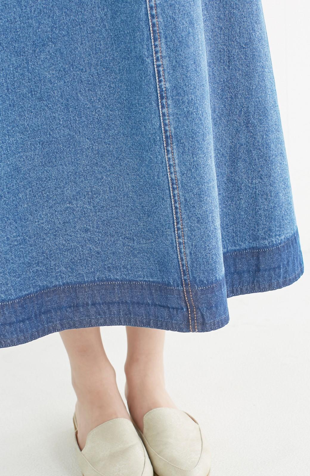 nusy 裾配色のミモレ丈デニムスカート <ライトインディゴブルー>の商品写真13