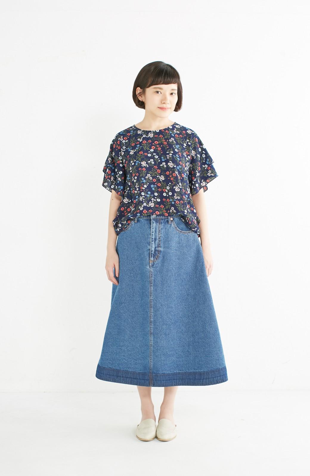 nusy 裾配色のミモレ丈デニムスカート <ライトインディゴブルー>の商品写真5