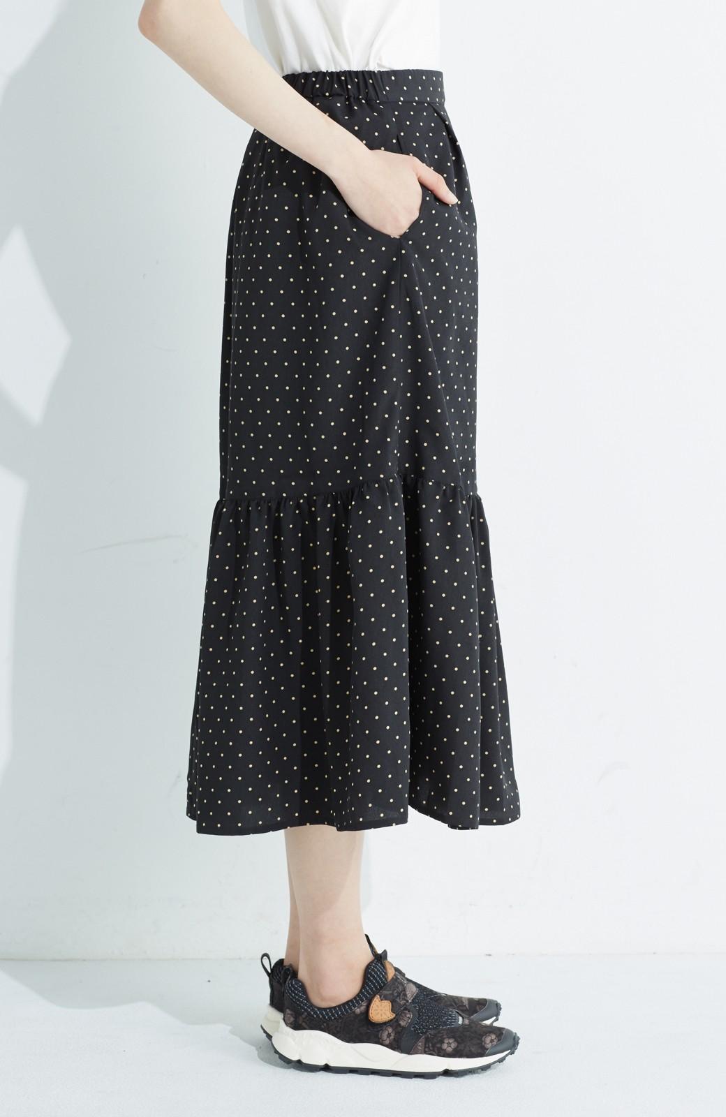 nusy 大人かわいい水玉ギャザースカート <ブラック系その他>の商品写真5