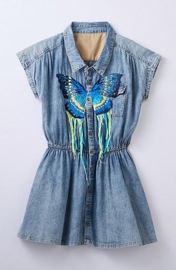 haco! てとひとて SAWAKO NINOMIYA 青い蝶の青いワンピース <インディゴブルー>の商品写真