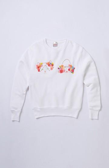 haco! てとひとて SAWAKO NINOMIYA 動物と花のスウェット(プードル&ネコ) <ホワイト>の商品写真