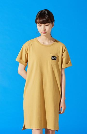 haco! Lee パイルロゴがかわいいTシャツワンピース <マスタード>の商品写真