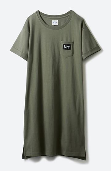 haco! Lee パイルロゴがかわいいTシャツワンピース <カーキ>の商品写真