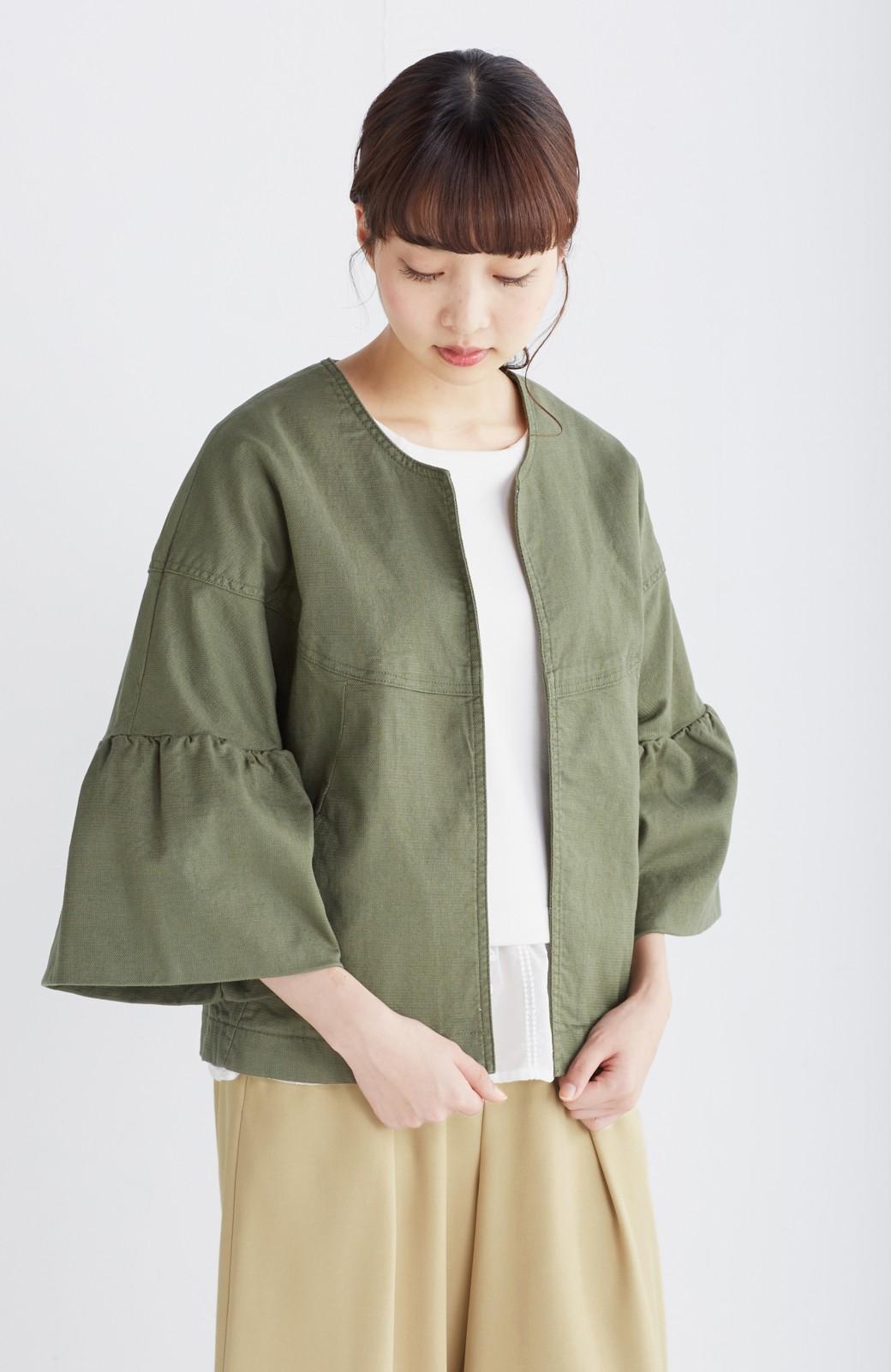nusy さっと羽織るのにちょうどいい ラッフルスリーブジャケット <カーキ>の商品写真8