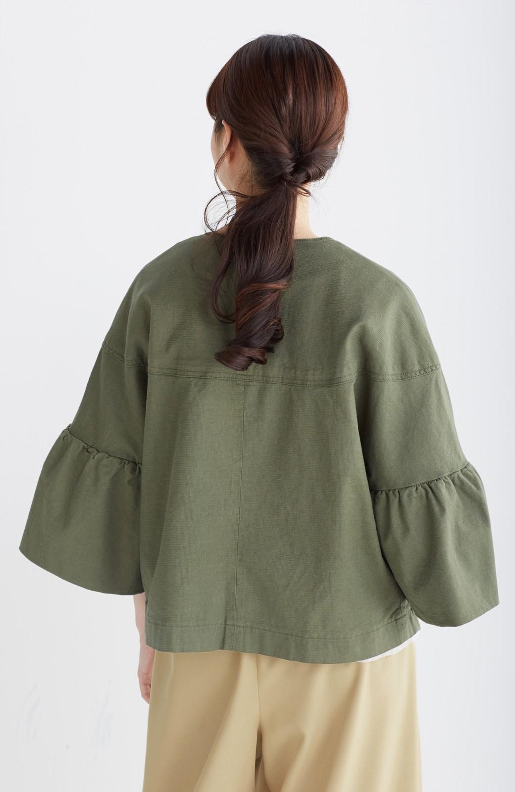 nusy さっと羽織るのにちょうどいい ラッフルスリーブジャケット <カーキ>の商品写真10