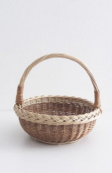 haco! MADE IN リトアニア 三つ編みの柳カゴ サークル型 <ベージュ>の商品写真