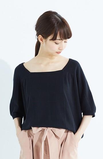haco! PBP Tシャツ感覚で着られる ドルマン袖のさらりコットンニット <ブラック>の商品写真