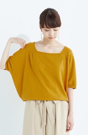 haco! PBP Tシャツ感覚で着られる ドルマン袖のさらりコットンニット <マスタード>の商品写真