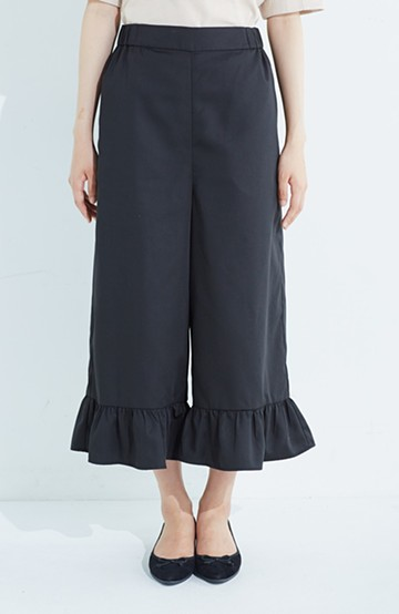 haco! スカート気分で楽しめる 華やかフレアーパンツ <ブラック>の商品写真