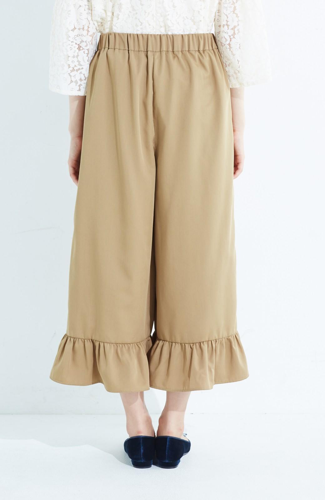 haco! スカート気分で楽しめる 華やかフレアーパンツ <ベージュ>の商品写真6