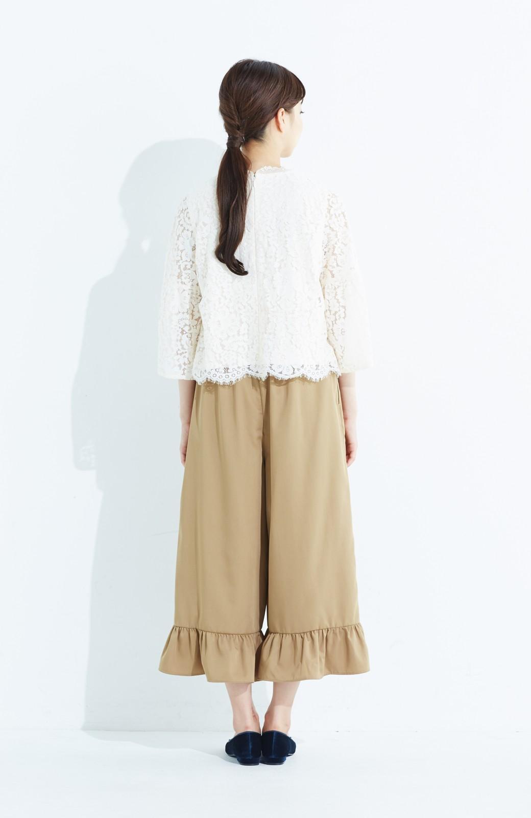 haco! スカート気分で楽しめる 華やかフレアーパンツ <ベージュ>の商品写真11
