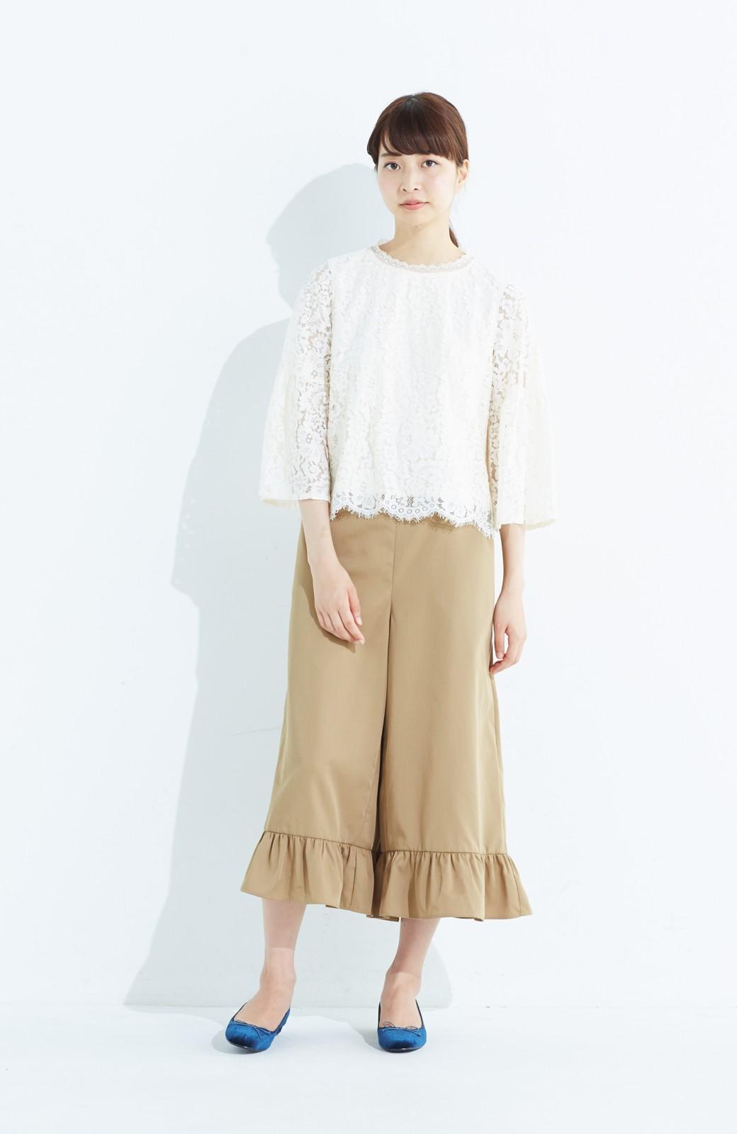 haco! スカート気分で楽しめる 華やかフレアーパンツ <ベージュ>の商品写真7