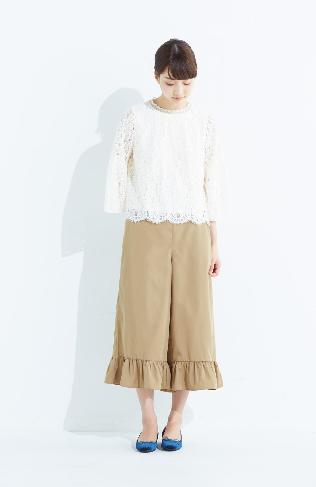 haco! スカート気分で楽しめる 華やかフレアーパンツ <ベージュ>の商品写真8