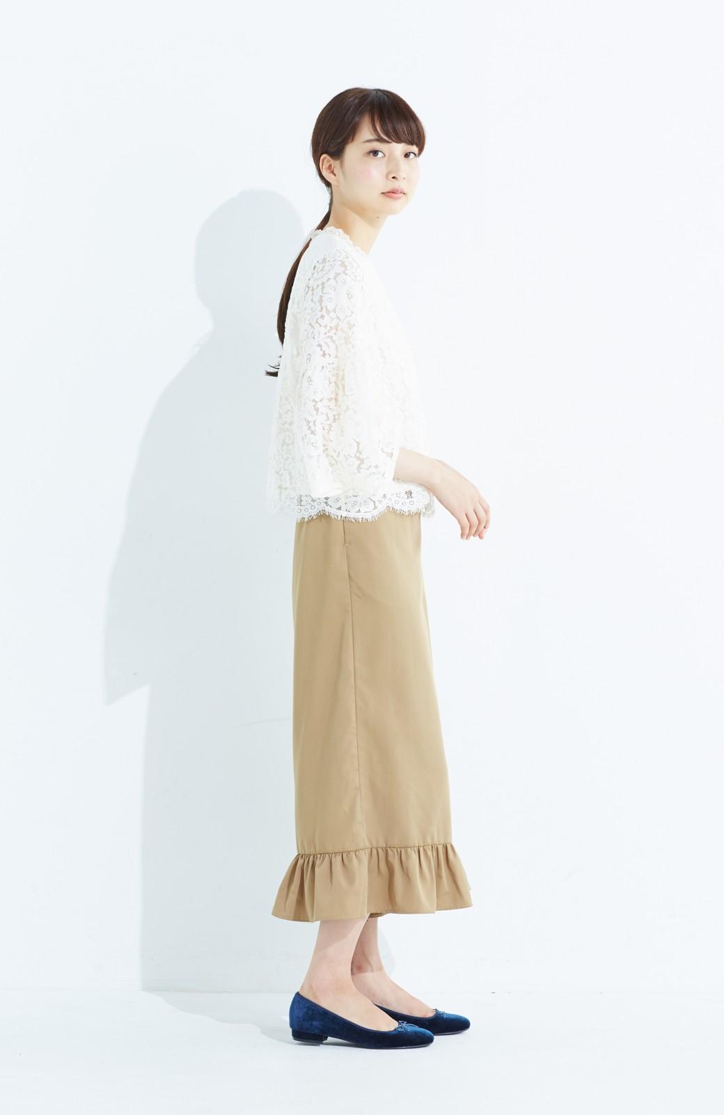 haco! スカート気分で楽しめる 華やかフレアーパンツ <ベージュ>の商品写真9
