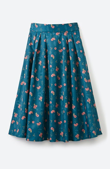 haco!  <KANA MATSUNAMIテキスタイル>さざんか柄のフレアースカート <グリーン>の商品写真