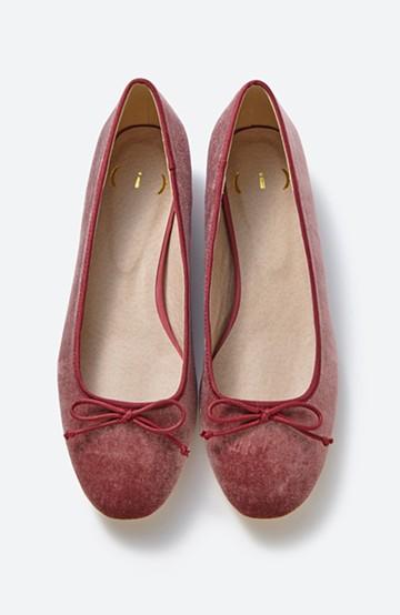 haco! ちょっとヒールで歩きやすい ベロアバレエシューズ <ピンク>の商品写真