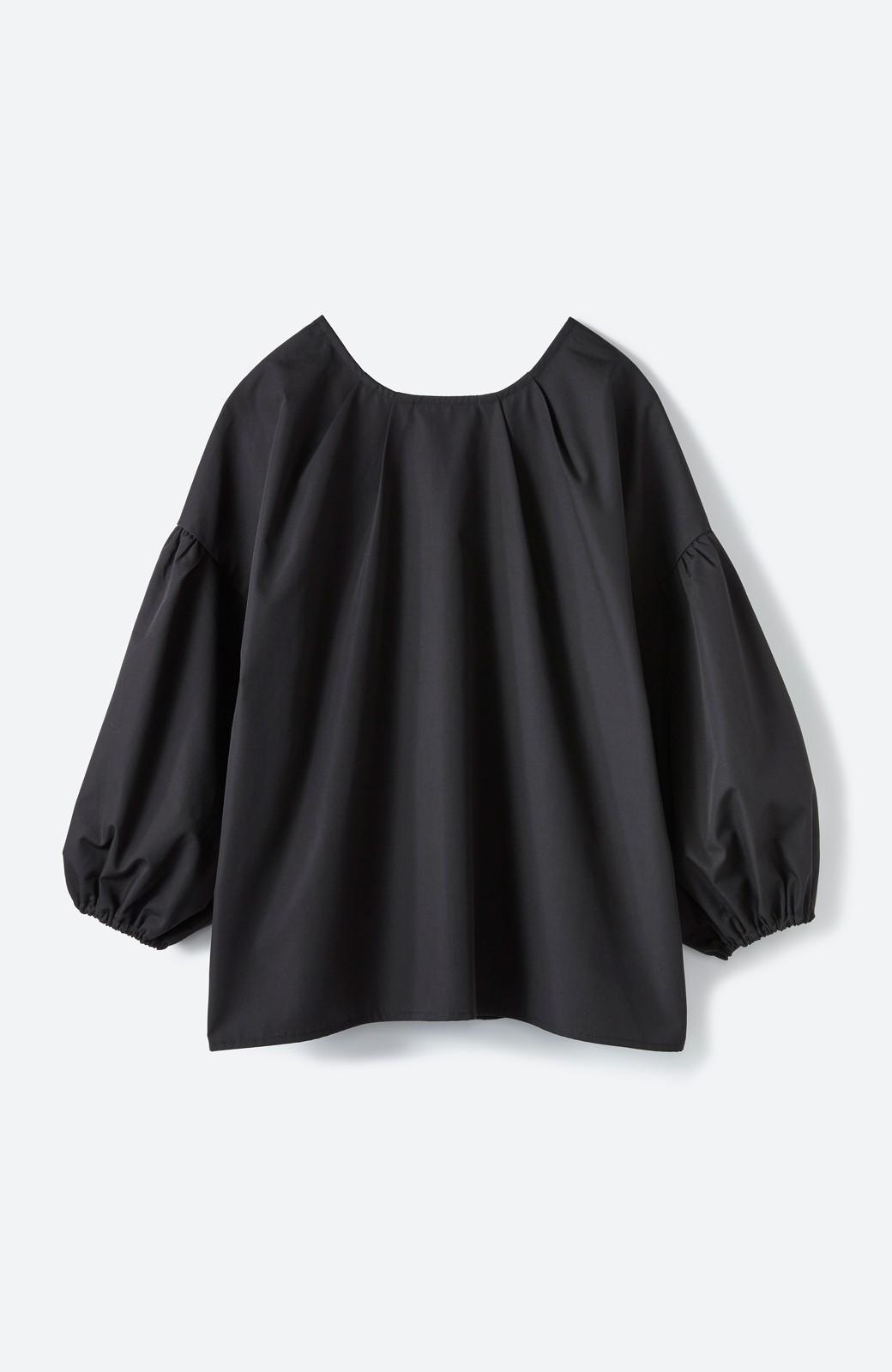 haco! うしろまえ着られるぽんわり袖ブラウス <ブラック>の商品写真2