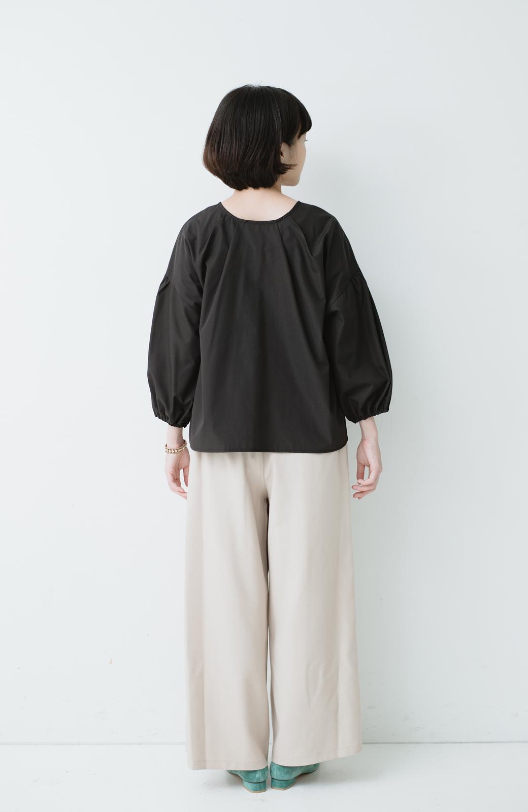 haco! うしろまえ着られるぽんわり袖ブラウス <ブラック>の商品写真6