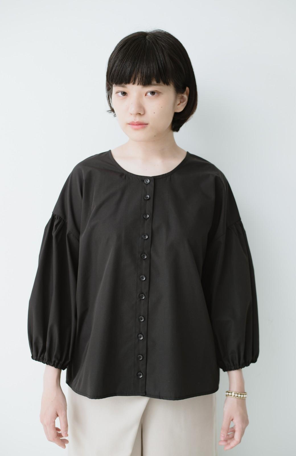 haco! うしろまえ着られるぽんわり袖ブラウス <ブラック>の商品写真7