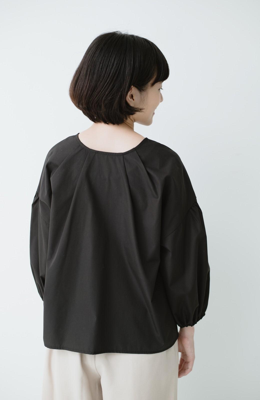 haco! うしろまえ着られるぽんわり袖ブラウス <ブラック>の商品写真12