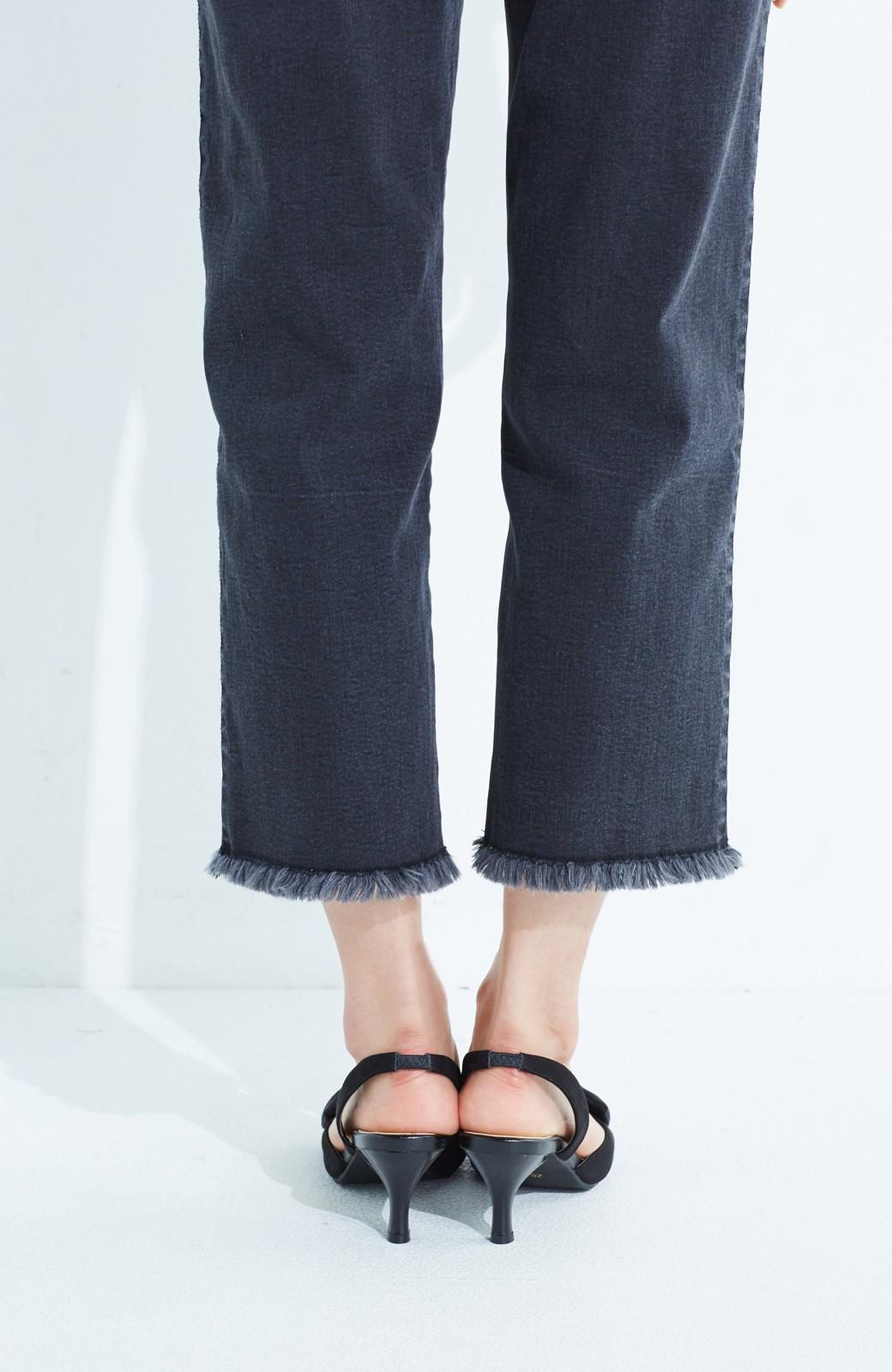 haco! 華奢ちょいヒールで気軽に女っぽくなれる バックストラップリボンパンプス <ブラック>の商品写真6