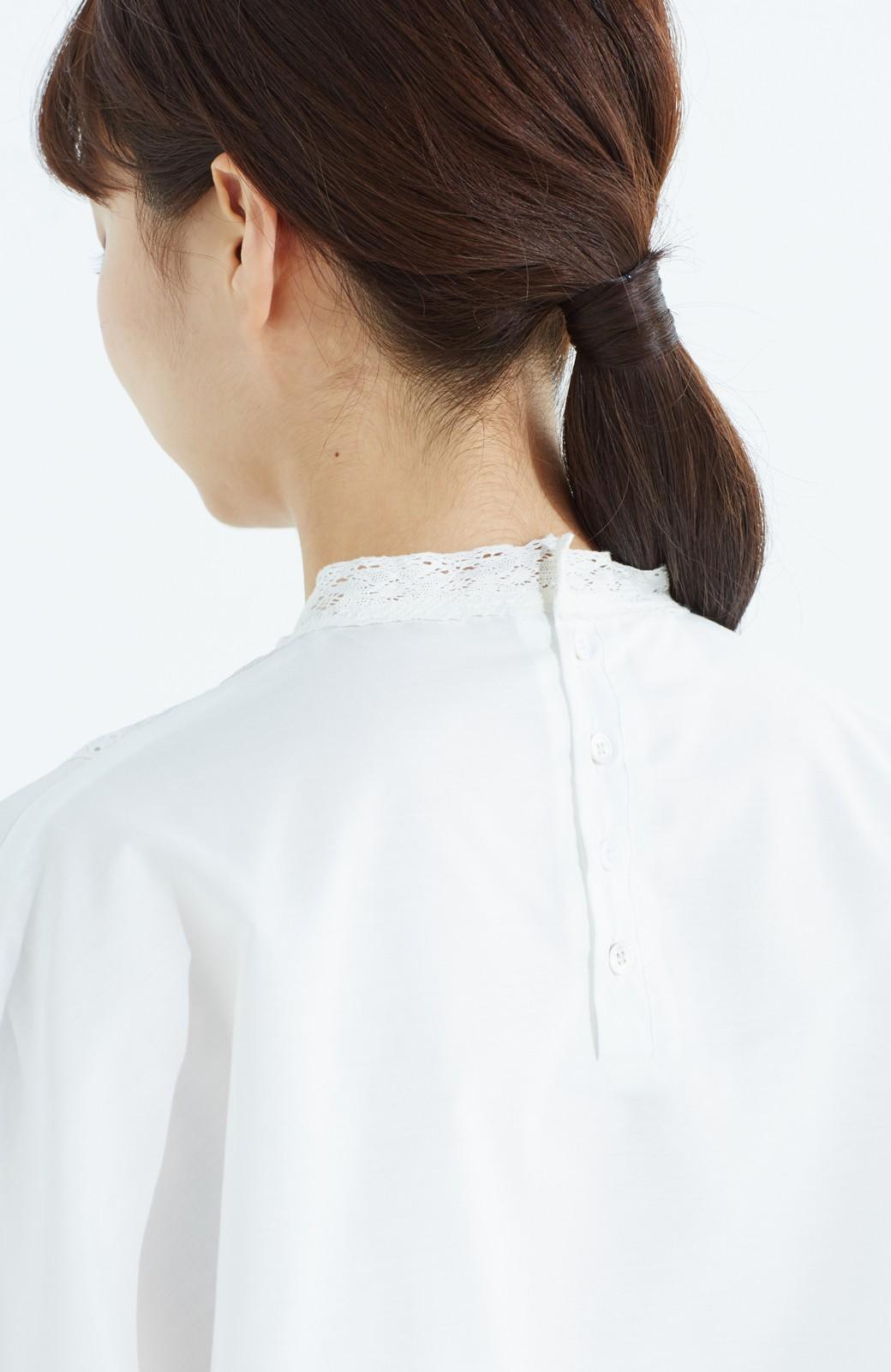 haco! 華やかなのに着まわしやすい レース&刺しゅうブラウス <ホワイト>の商品写真4