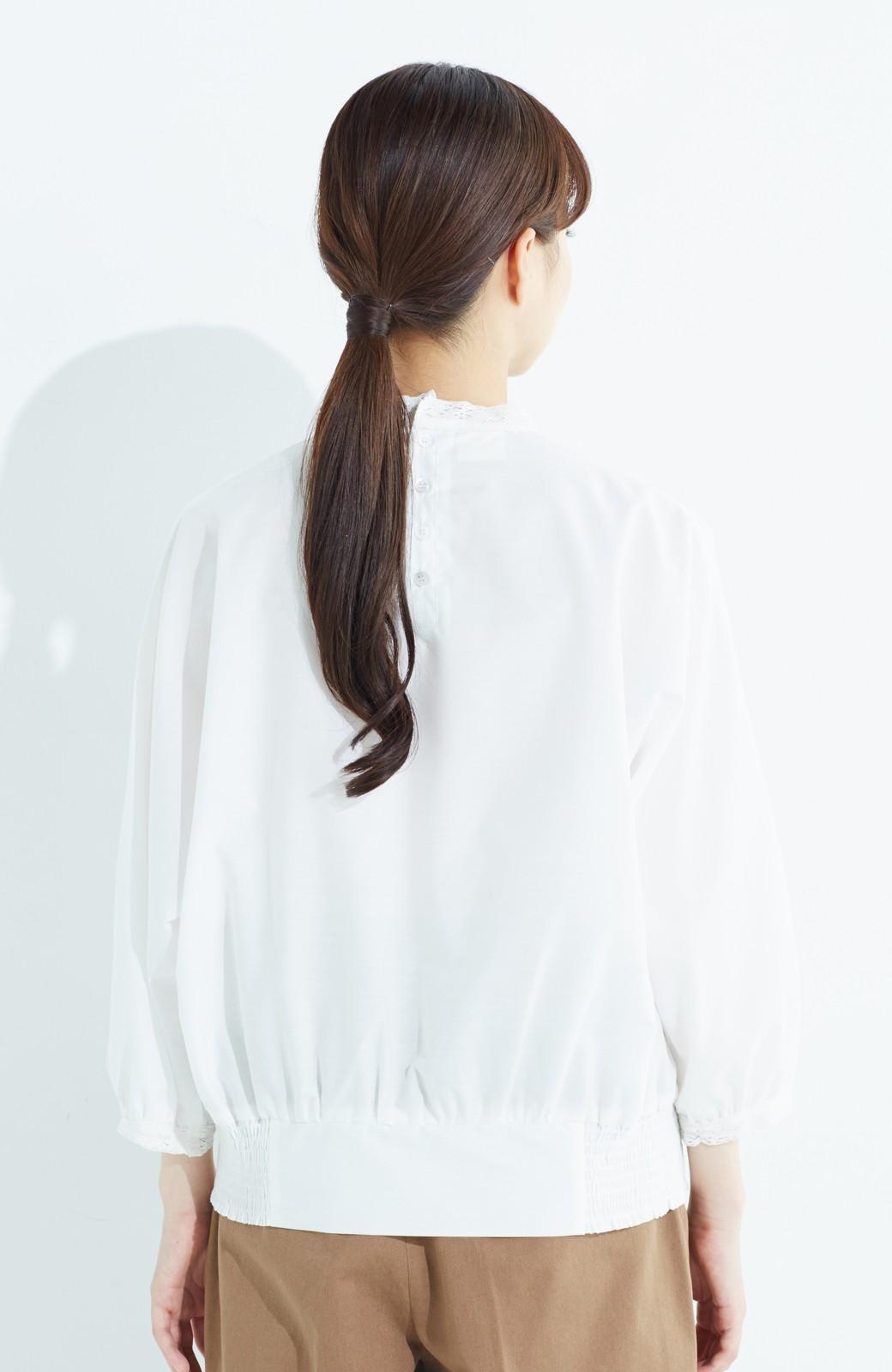 haco! 華やかなのに着まわしやすい レース&刺しゅうブラウス <ホワイト>の商品写真13