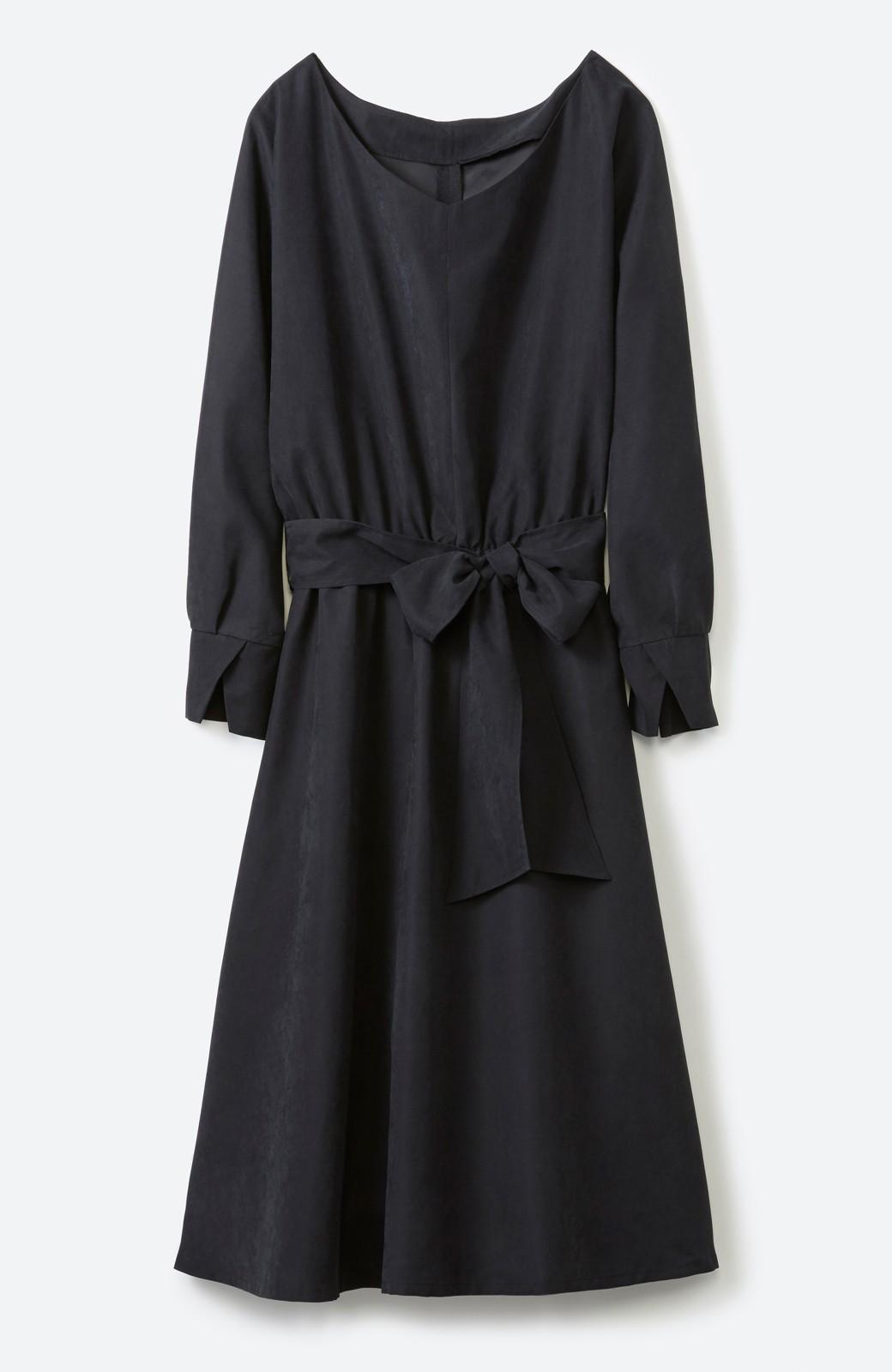 haco! 着るだけで女っぽく見える&後ろ前どちらも着られる ウエストリボンワンピース <ブラック>の商品写真1