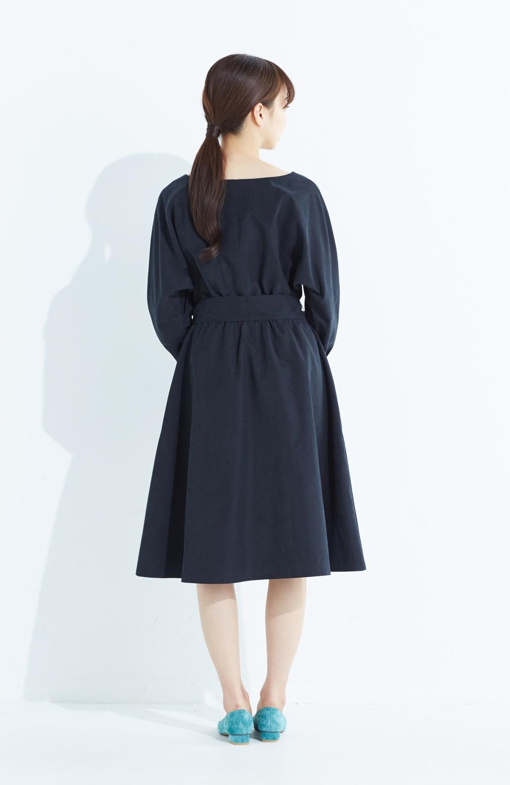 haco! 着るだけで女っぽく見える&後ろ前どちらも着られる ウエストリボンワンピース <ブラック>の商品写真11