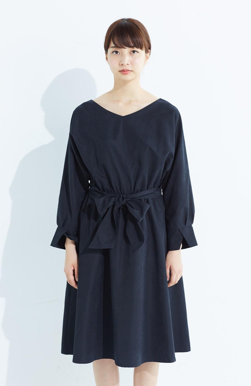 haco! 着るだけで女っぽく見える&後ろ前どちらも着られる ウエストリボンワンピース <ブラック>の商品写真12