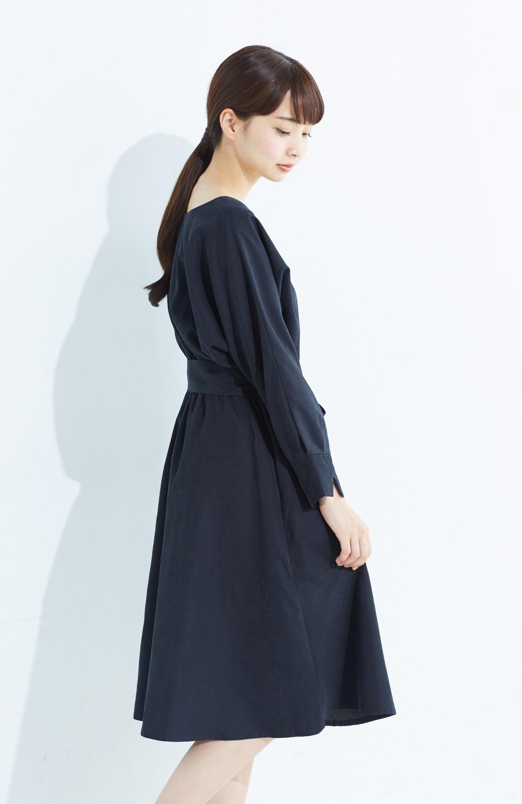 haco! 着るだけで女っぽく見える&後ろ前どちらも着られる ウエストリボンワンピース <ブラック>の商品写真14