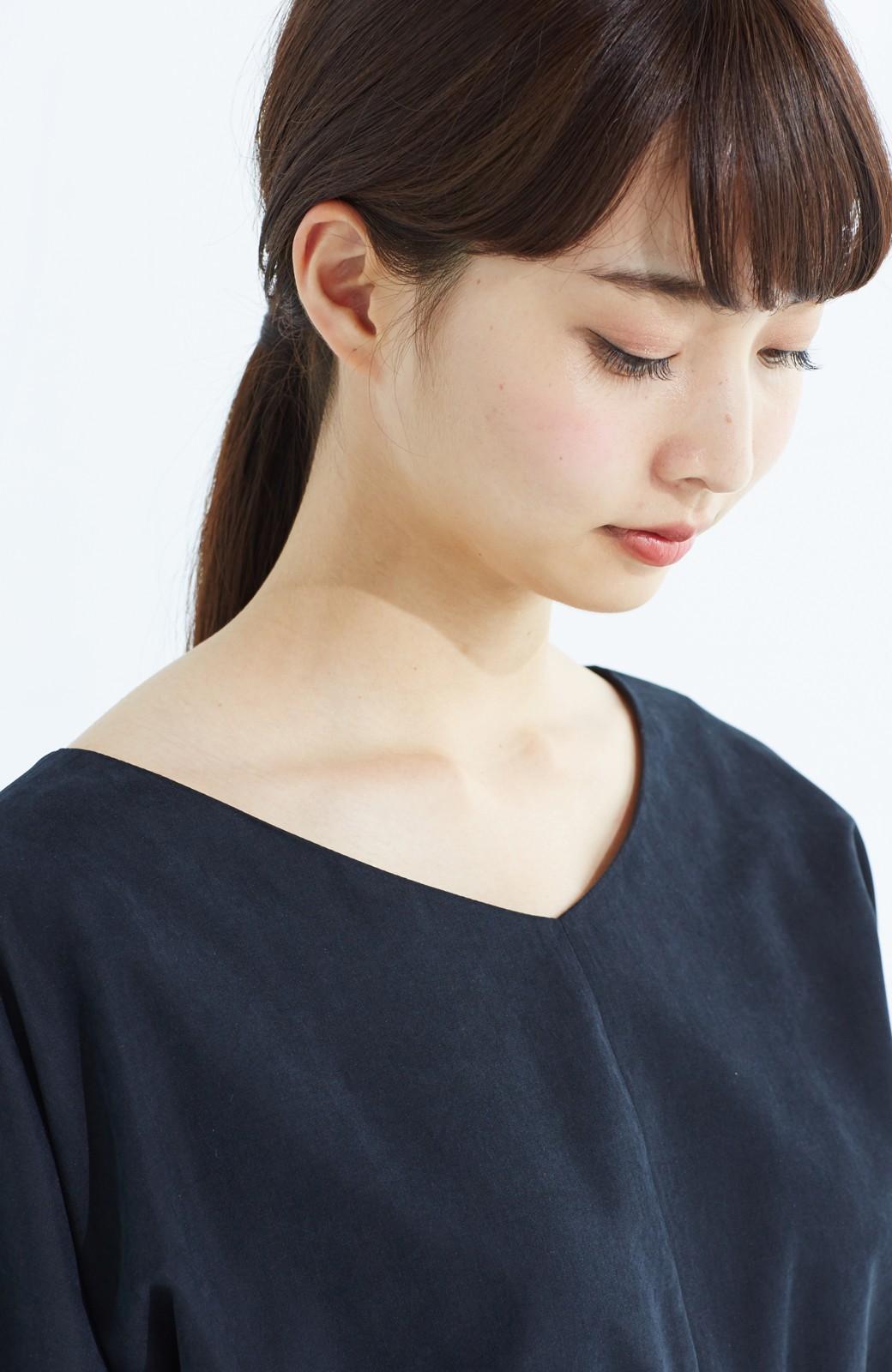haco! 着るだけで女っぽく見える&後ろ前どちらも着られる ウエストリボンワンピース <ブラック>の商品写真17