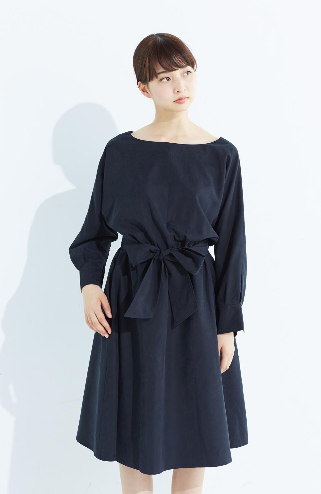 haco! 着るだけで女っぽく見える&後ろ前どちらも着られる ウエストリボンワンピース <ブラック>の商品写真18