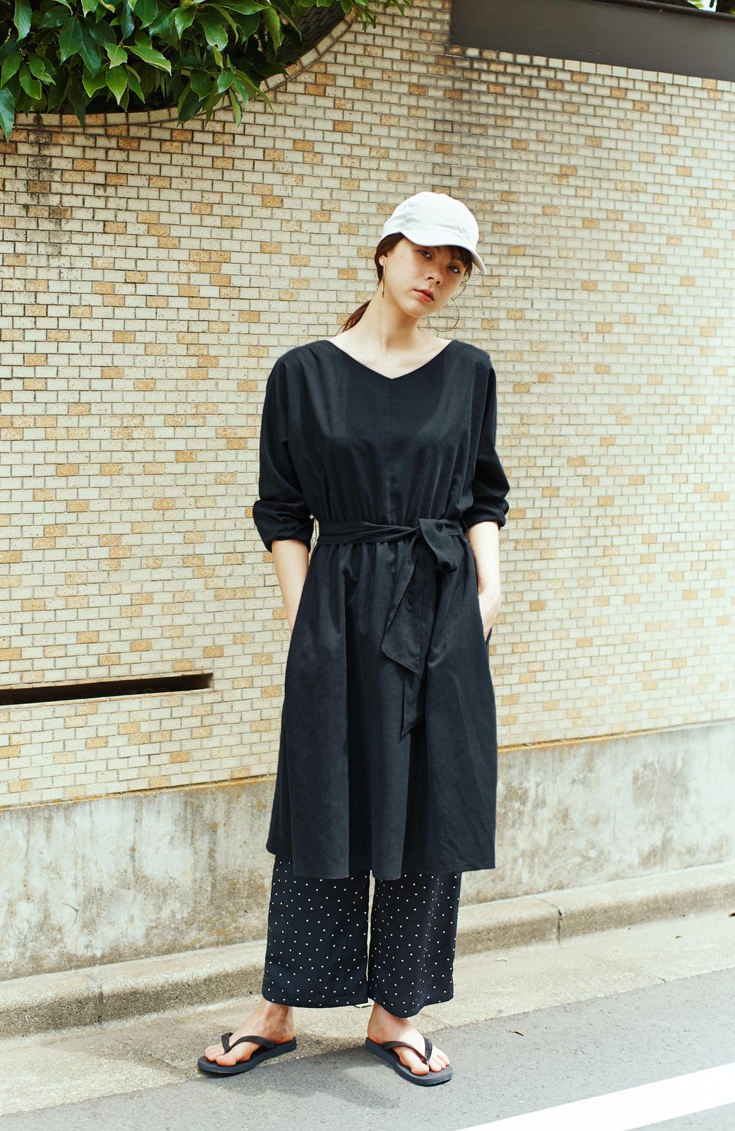 haco! 着るだけで女っぽく見える&後ろ前どちらも着られる ウエストリボンワンピース <ブラック>の商品写真3