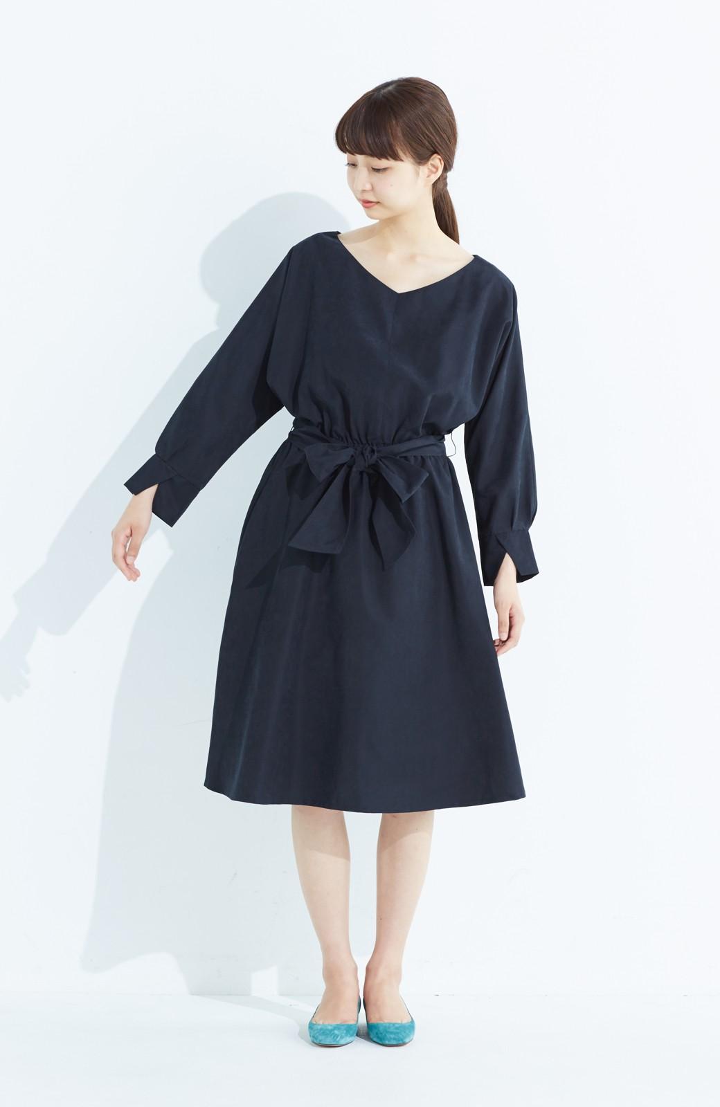 haco! 着るだけで女っぽく見える&後ろ前どちらも着られる ウエストリボンワンピース <ブラック>の商品写真6