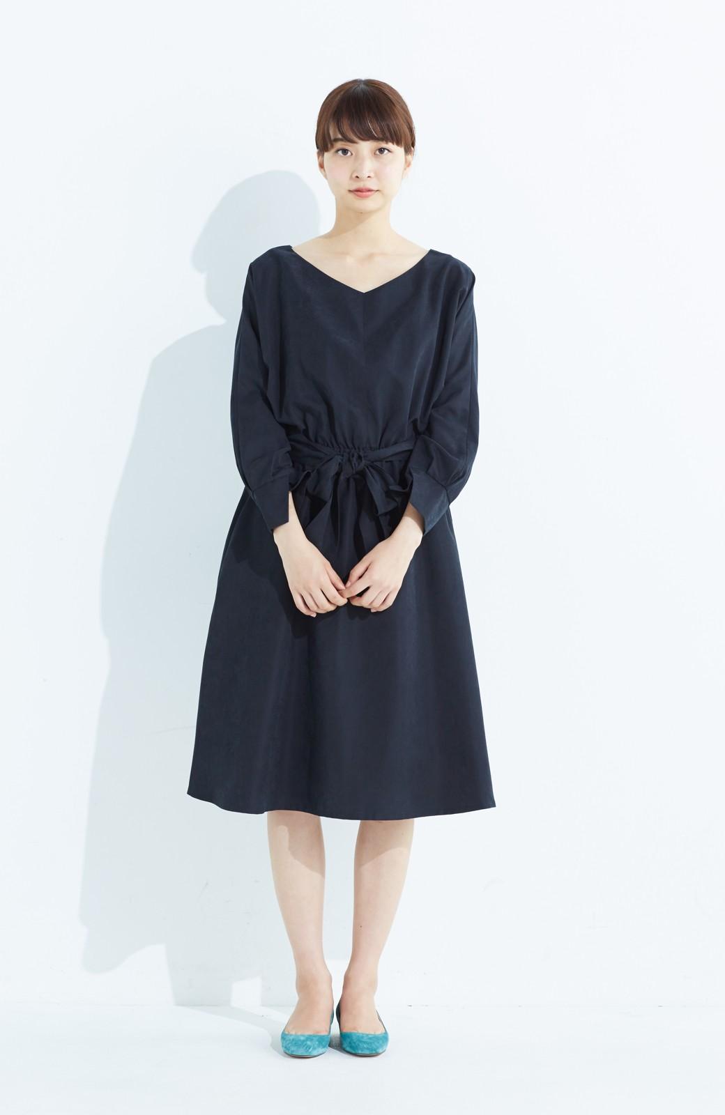 haco! 着るだけで女っぽく見える&後ろ前どちらも着られる ウエストリボンワンピース <ブラック>の商品写真7