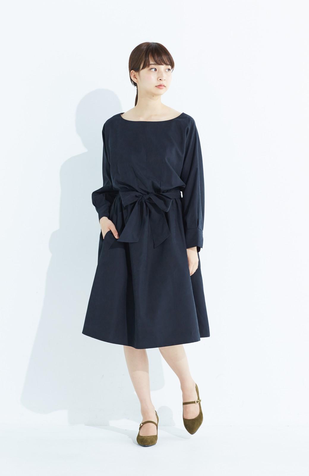haco! 着るだけで女っぽく見える&後ろ前どちらも着られる ウエストリボンワンピース <ブラック>の商品写真9