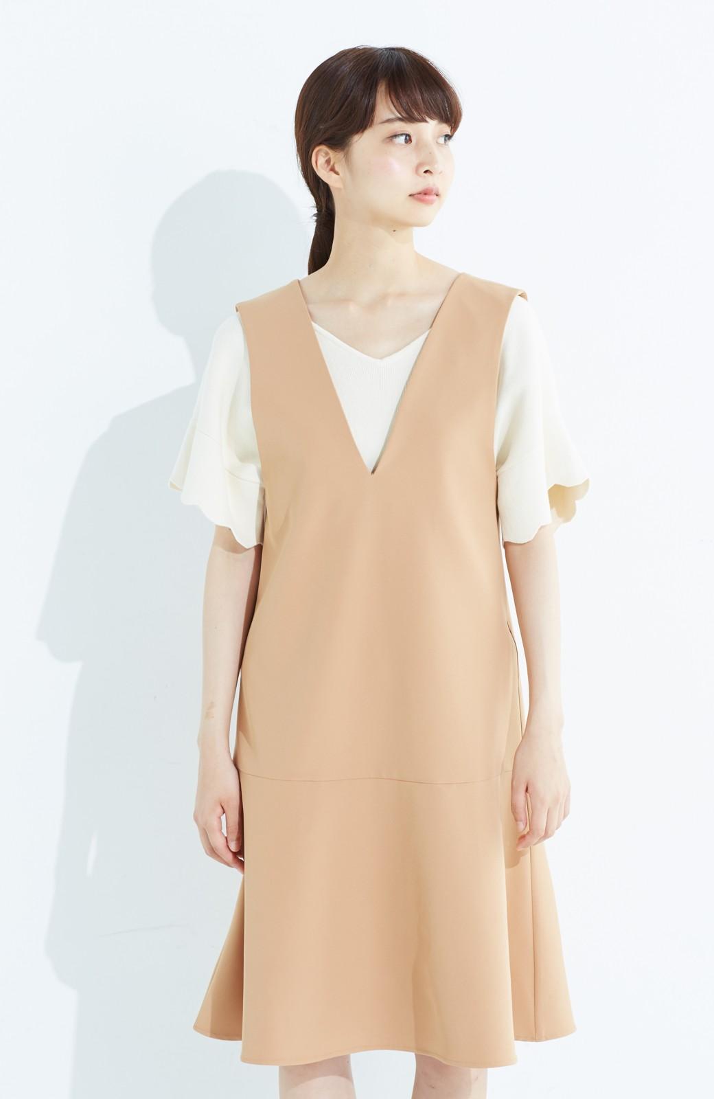 haco! パッと着て今気分&長い季節着られる すそフレアージャンパースカート <ベージュ>の商品写真13