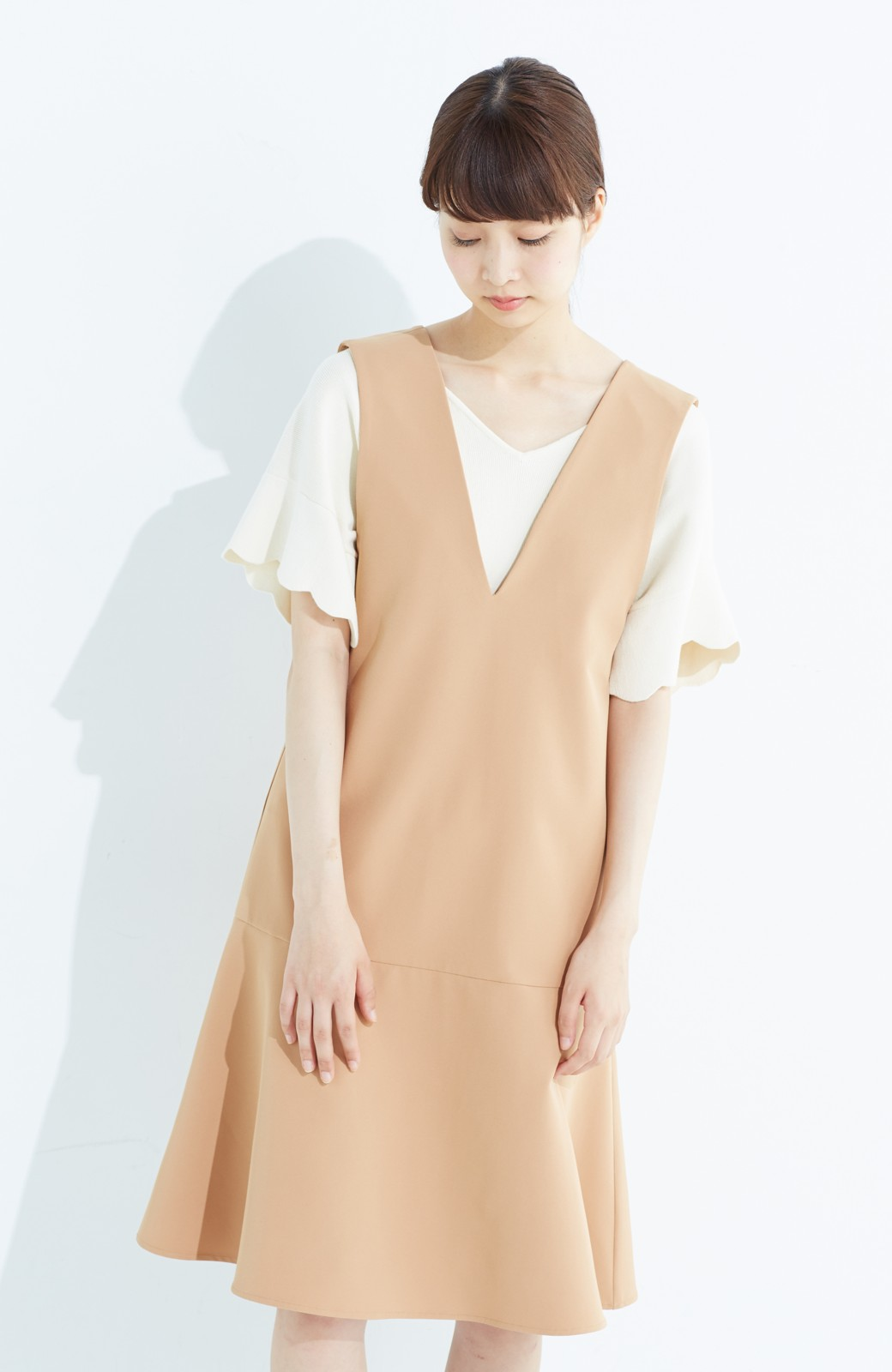 haco! パッと着て今気分&長い季節着られる すそフレアージャンパースカート <ベージュ>の商品写真14