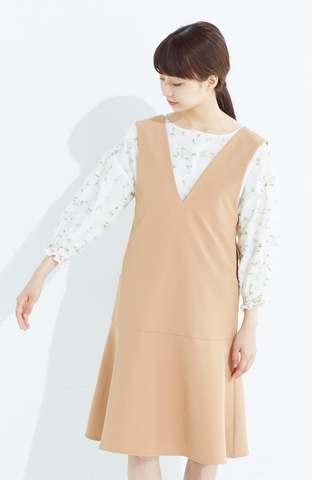 haco! パッと着て今気分&長い季節着られる すそフレアージャンパースカート <ベージュ>の商品写真15