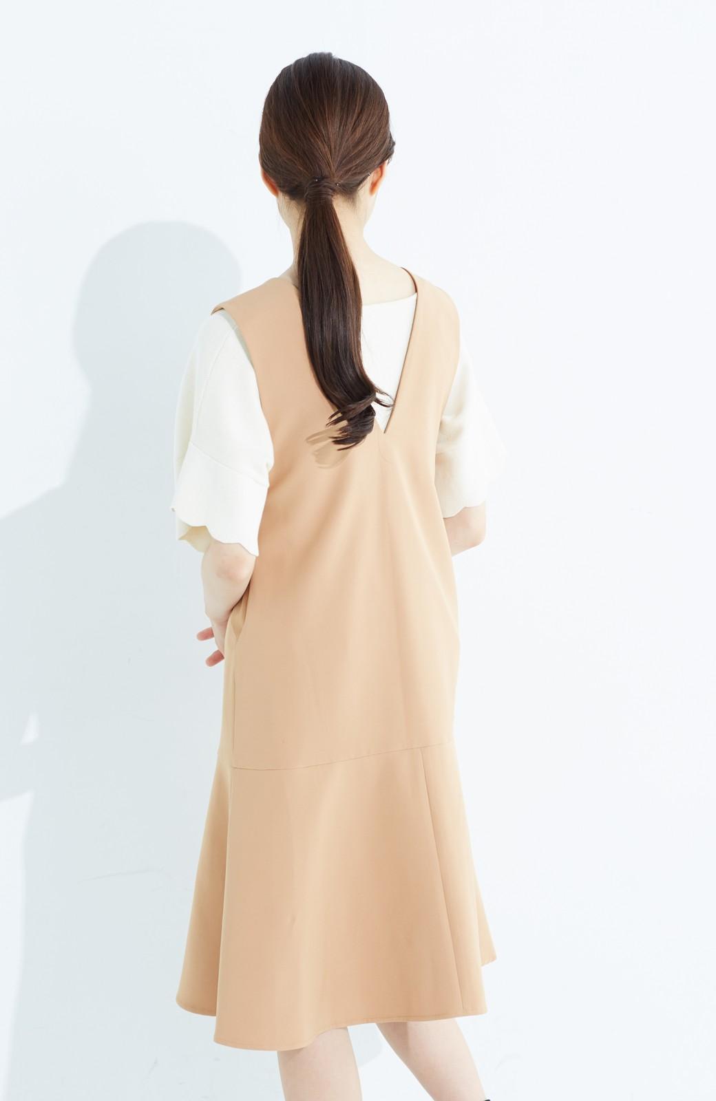 haco! パッと着て今気分&長い季節着られる すそフレアージャンパースカート <ベージュ>の商品写真17