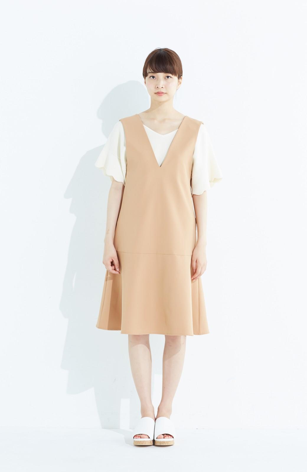 haco! パッと着て今気分&長い季節着られる すそフレアージャンパースカート <ベージュ>の商品写真6