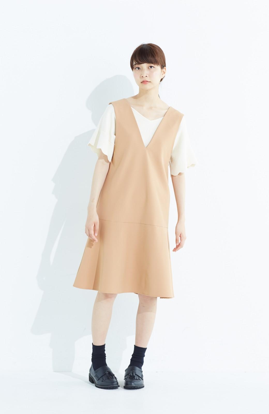 haco! パッと着て今気分&長い季節着られる すそフレアージャンパースカート <ベージュ>の商品写真8